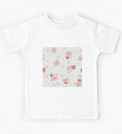 Shabby chic,rustic,vintage,floral,pattern,red,pink,white,pale blue, modern,trendy Kids Tee