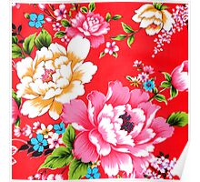 chinese floral pattern,modern,asian,red,pink,white,green,blue,yellow,orange,modern,trendy,girly Poster