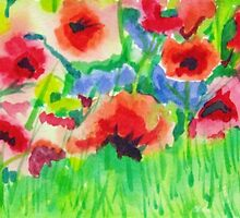 Poppy Field 2 by marlene veronique holdsworth