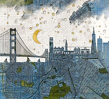 San Francisco skyline old map by Paula Belle Flores
