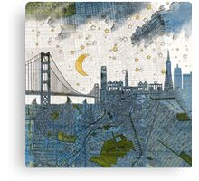 San Francisco skyline old map Canvas Print