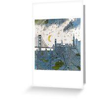 San Francisco skyline old map Greeting Card