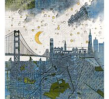 San Francisco skyline old map Photographic Print