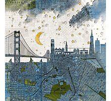 San Francisco skyline old map Photographic Print