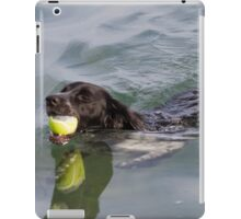 Dog swims with ball in mouth iPad Case/Skin