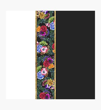 Watercolor Flowers Black White Gold Color Blocks Photographic Print