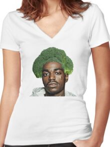 Kodak Black Broccoli Head- Transparent Background Women's Fitted V-Neck T-Shirt