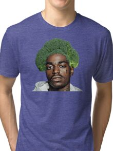 Kodak Black Broccoli Head- Transparent Background Tri-blend T-Shirt
