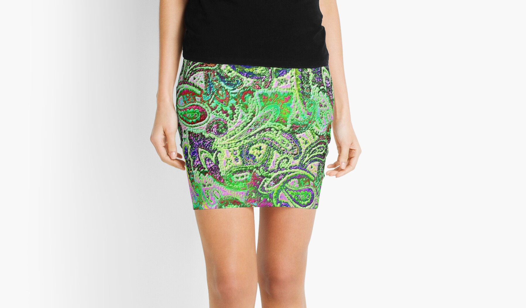 'Plain Paisley B' Mini Skirt by yonni