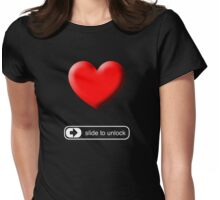 Slide to Unlock My Heart Womens Fitted T-Shirt