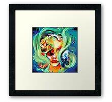 koi fish Girl Framed Print