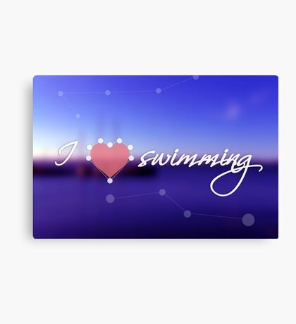 Blurred background with blue sea and boats. Concept background with dotted line, heart and the text: I love swimming Canvas Print