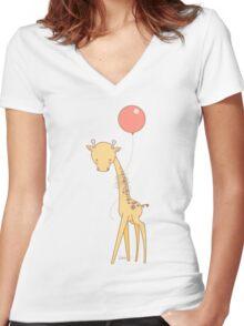 Giraffe and balloon Women's Fitted V-Neck T-Shirt