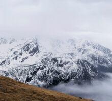 The Tatra mountains with snow. The mountains in the fog Sticker