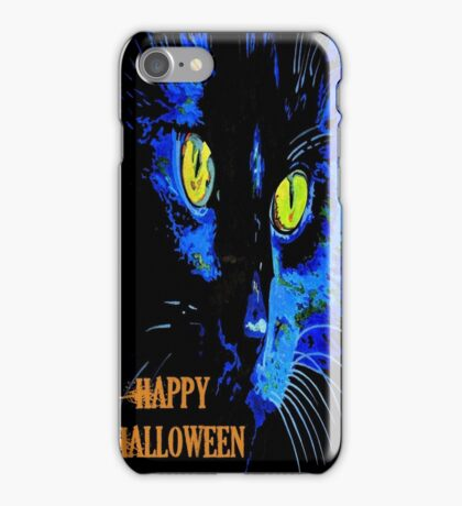 Black Cat Portrait with Happy Halloween Greeting iPhone Case/Skin