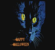 Black Cat Portrait with Happy Halloween Greeting One Piece - Long Sleeve