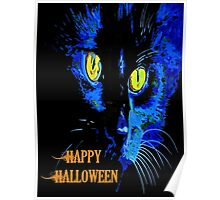 Black Cat Portrait with Happy Halloween Greeting Poster