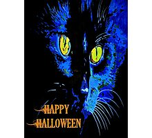 Black Cat Portrait with Happy Halloween Greeting Photographic Print