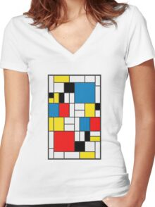 Piet Mondrian Composition Women's Fitted V-Neck T-Shirt