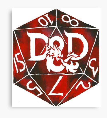 Hand Painted Watercolor DnD D20 Canvas Print