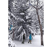 Walking in a Winter Wonderland - Blue Jays and Hikers Snowy Landscape Photographic Print