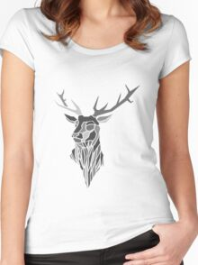 Geometric Stag Design Women's Fitted Scoop T-Shirt