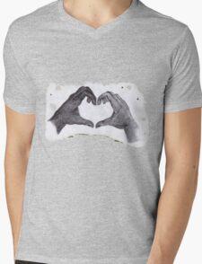 Heart on fire Mens V-Neck T-Shirt