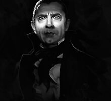 Bela Lugosi dracula - black and white digital painting by Thubakabra