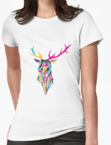 Geometric Stag Design Womens Fitted T-Shirt