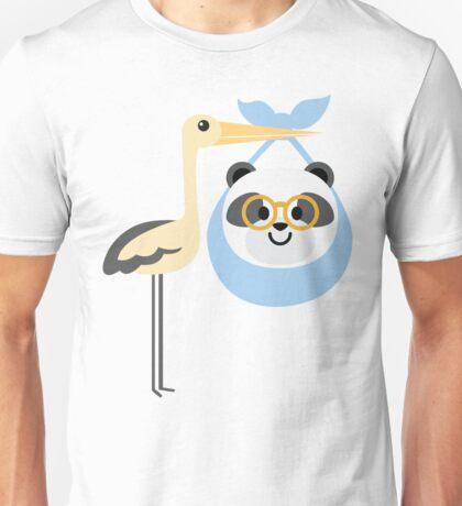 Stork with Baby Panda Emoji Nerd Glasses Face Unisex T-Shirt