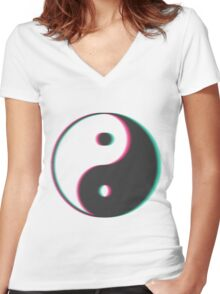 YinYang Transparent Tumblr Style Women's Fitted V-Neck T-Shirt