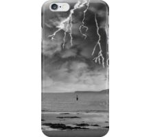 fisherman fishing in a thunder storm iPhone Case/Skin