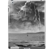 fisherman fishing in a thunder storm iPad Case/Skin