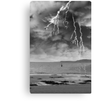 fisherman fishing in a thunder storm Canvas Print