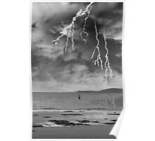 fisherman fishing in a thunder storm Poster