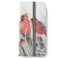 Cardinals on the Cattails  iPhone Wallet/Case/Skin