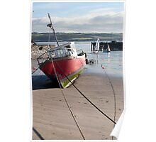 fishing boats anchored in Youghal bay Poster