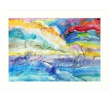 Watercolor fantasy abstract Art Print