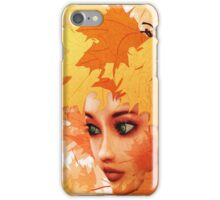 Autumn leaves and girl iPhone Case/Skin