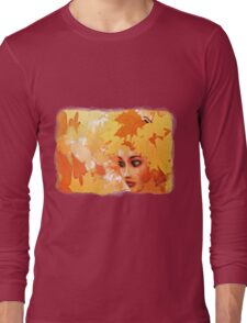 Autumn leaves and girl Long Sleeve T-Shirt