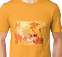 Autumn leaves and girl Unisex T-Shirt