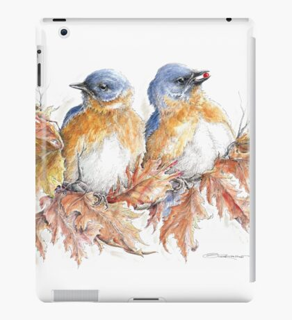 The Bluebirds of Happiness Among the Fall Leaves iPad Case/Skin