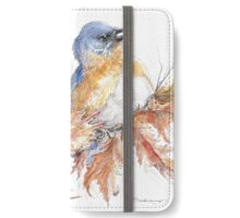 The Bluebirds of Happiness Among the Fall Leaves iPhone Wallet/Case/Skin