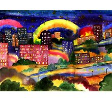 Fantastic city rainbow watercolor Photographic Print