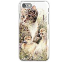 A Cat Enjoying Company From Some Friendly Ducklings iPhone Case/Skin