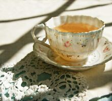 Antique China Teacup on Lace by BrookeRyanPhoto