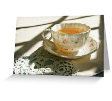 Antique China Teacup on Lace Greeting Card