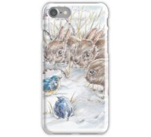 Curious Bunnies Observing the Blue Birds  iPhone Case/Skin