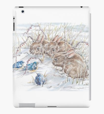 Curious Bunnies Observing the Blue Birds  iPad Case/Skin