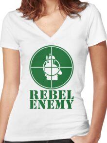 Rebel Enemy Green Women's Fitted V-Neck T-Shirt
